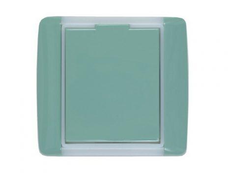 Zöld, kerekített műanyag falicsatlakozó